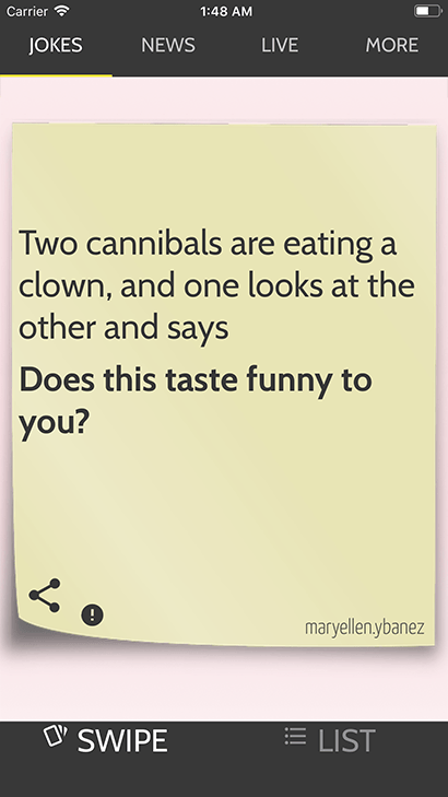 JokesApp Demo Screen with cannibal joke